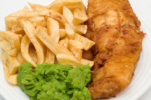 fish and chips and mushy peas and brown sauce