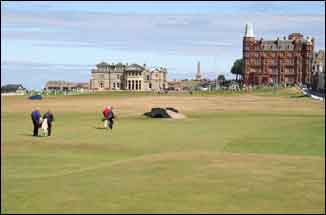 Golf at St Andrews- golfers on the Old Course